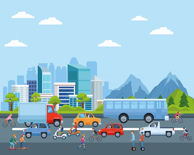 Transport miejski i kreskówki mobilności