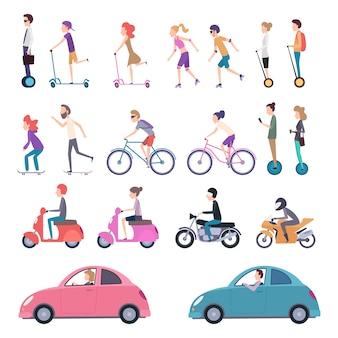 Transport miejski. ludzie jeżdżący pojazdami miejskimi na rowerze, którzy prowadzą skuter elektryczny skate, segway ilustracje kreskówek