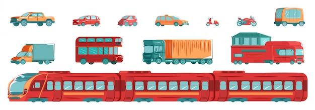 Transport miejski zestaw z metrem, tramwajem, samochodami i torami w płaskiej projekt ilustraci odizolowywającej na bielu secie.