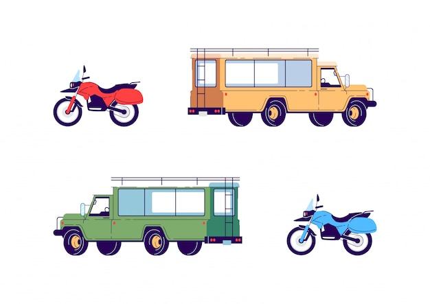 Transport na wycieczkę zestaw ilustracji półpłaskich kolorów rgb. motocykl do sportów ekstremalnych. ciężarówka do podróży safari. pojazdy na białym tle obiekty kreskówka na białym tle kolekcji