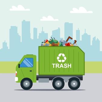 Transport odpadów komunalnych na ilustracji miejskiej zielonej ciężarówki