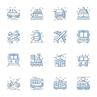Transport oznacza zestaw ikon liniowy wektor.