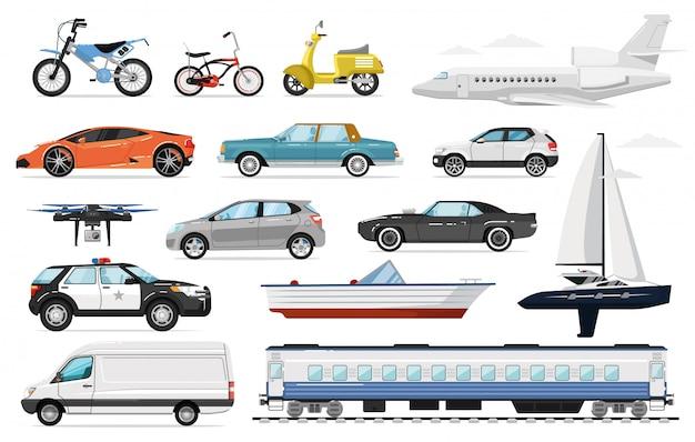 Transport pasażerów. widok z boku publicznych i prywatnych pojazdów pasażerskich. na białym tle radiowóz, pociąg, samolot, samochód, van, rower, jacht żaglowy, zestaw ikon transportu motocykla auto.