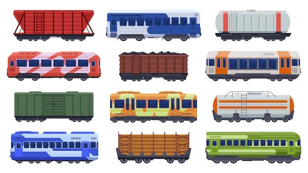 Transport pociągów. pociągi pasażerskie i towarowe, pociąg parowy, pociągi towarowe dużych prędkości. zestaw ikon ilustracji metra metra. szybka podziemna furgonetka towarowa do przewozu węgla i drewna