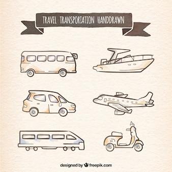 Transport podróże ręcznie rysowane