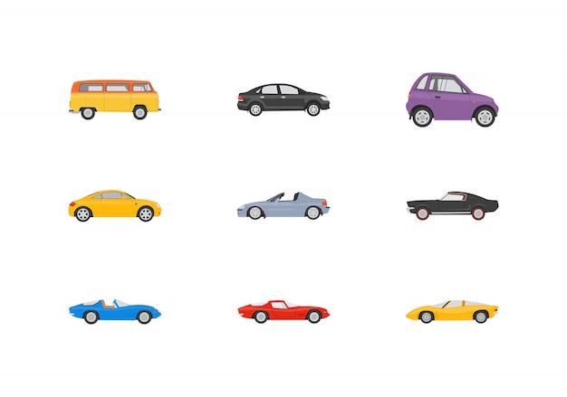 Transport pojazdów płaskie ikony