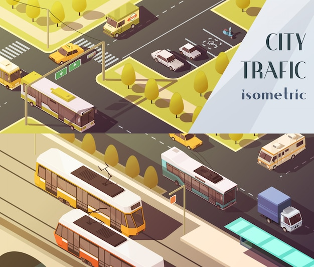 Transport poziomy banery zestaw z symboli ruchu miasta