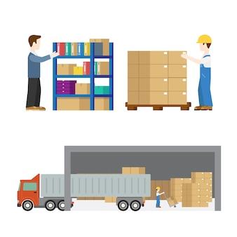Transport pracownika usługi dostawy w procesie ustawić płaską nowoczesną koncepcję. proces załadunku skrzynek paletowych na ciężarówki. kreatywni ludzie.