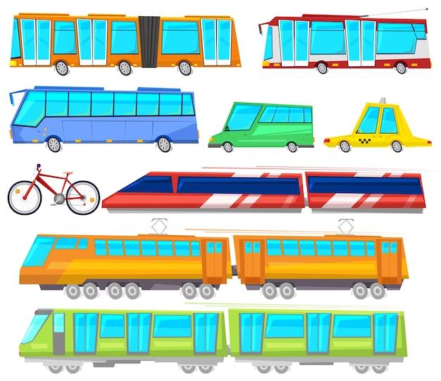Transport publiczny autobus lub pociąg przewoził pasażerów i samochód lub rower do transportu w mieście
