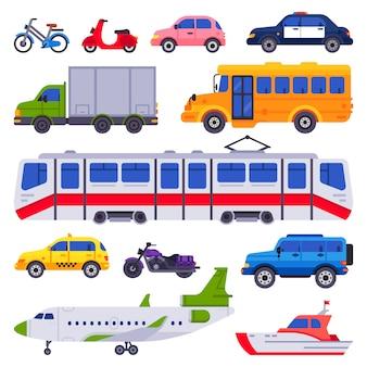 Transport publiczny. kolekcja samochodów na białym tle samochód taxi, pociąg miejski i transporter miejski