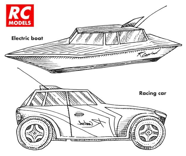 Transport rc, modele z pilotem. elementy zabawkowe do emblematów. łódź lub statek oraz samochód lub maszyna.