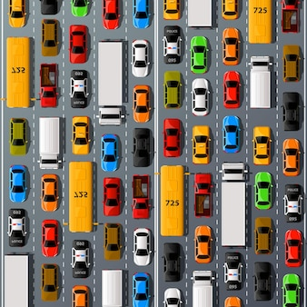 Transport samochodów drogowych, tło korka. ilustracja wektorowa