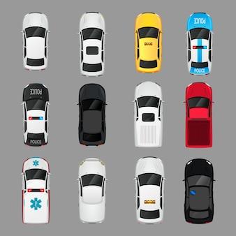 Transport samochodów widok z góry ikony zestaw izolowanych ilustracji wektorowych
