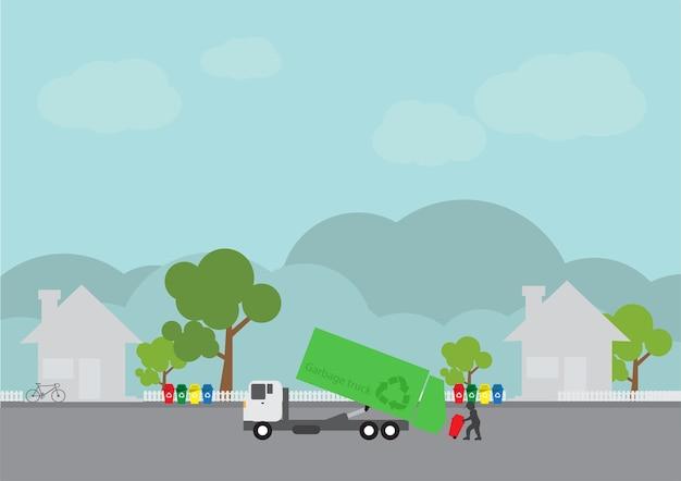 Transport śmieci, dostawa ciężarówek