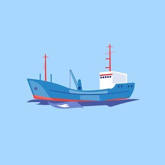 Transport statku na wodzie.
