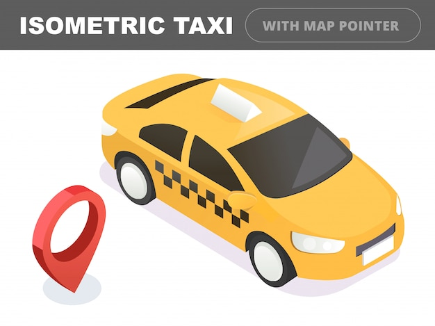 Transport taksówką, serwis. samochód taxi. płaskie 3d izometryczny ilustracja.