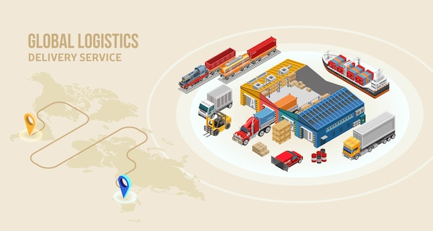 Transport towarowy i magazyn w pobliżu trasy dostawy