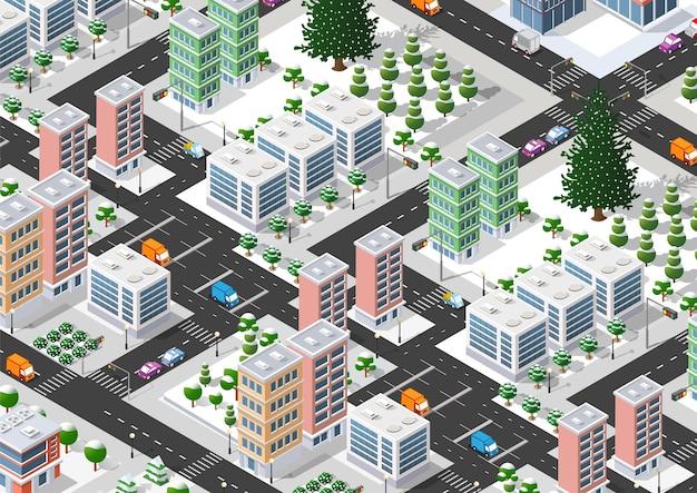 Transport ulic miasta przecina się z domami i drzewami