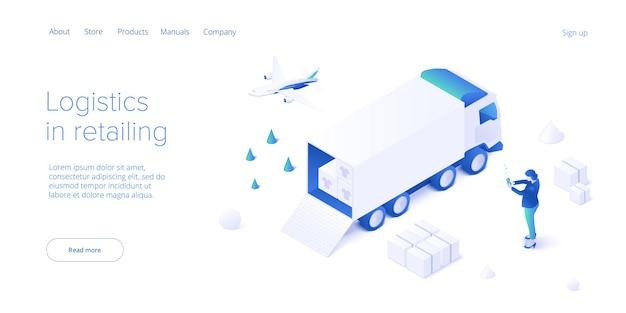 Transport w sklepie internetowym w izometrycznym projekcie wektorowym. usługa dostawy sklepu i koncepcja logistyki samochodów ciężarowych. łańcuch dostaw i wysyłka na rynek. szablon układu banera internetowego.