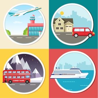 Transport Wariacji Infografiki Wycieczki Turystycznej Premium Wektorów