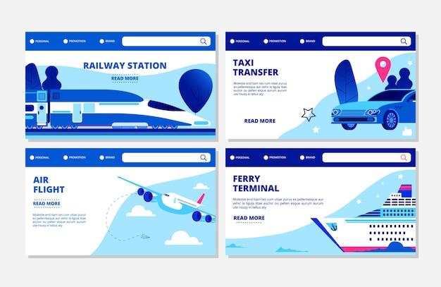 Transport wektor zestaw szablonów