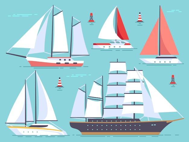 Transport żaglówek, jachtów, żaglowców. statek na białym tle wektor zestaw morze i ocean
