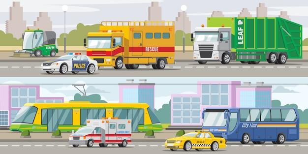 Transportu miejskiego poziome banery