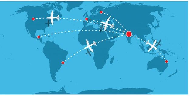 Transportu powietrza ilustracyjny tło. dostawa ładunków biznesowych samolotem. jet truck technologia banner logistyka lotnictwo. mapa ekspresowa na całym świecie