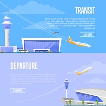 Tranzyt samolotów i ulotki odlotu z lotniska