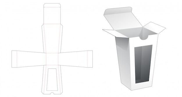 Trapezowe pudełko z szablonem do wycinania okien