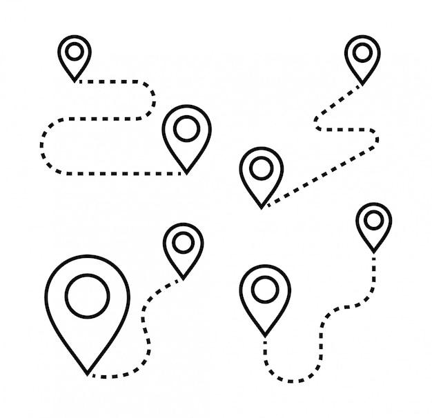 Trasa cienkimi liniami ze znacznikami ikon. ikony lokalizacji i nawigacji. odległość między wskaźnikami.