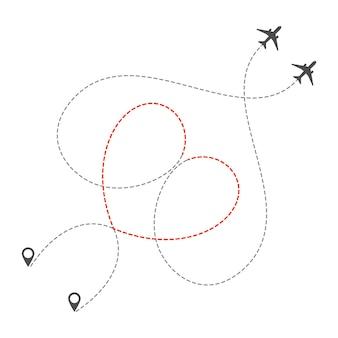 Trasa dwóch samolotów z linią przerywaną w kształcie serca. romantyczna wycieczka walentynkowa lub wakacje. miłość do podróżowania samolotem. ilustracja wektorowa na białym tle