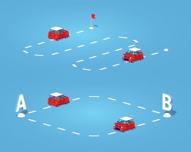 Trasa izometryczna 3d lowpoly z punktu a do punktu b