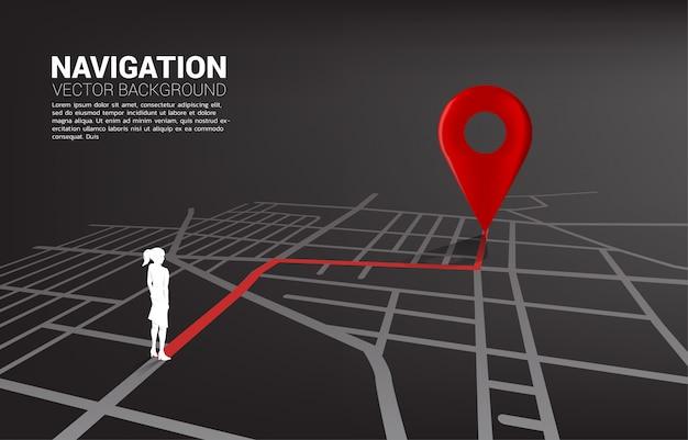 Trasa między znacznikami lokalizacji 3d a bizneswomanem na mapie drogowej miasta.