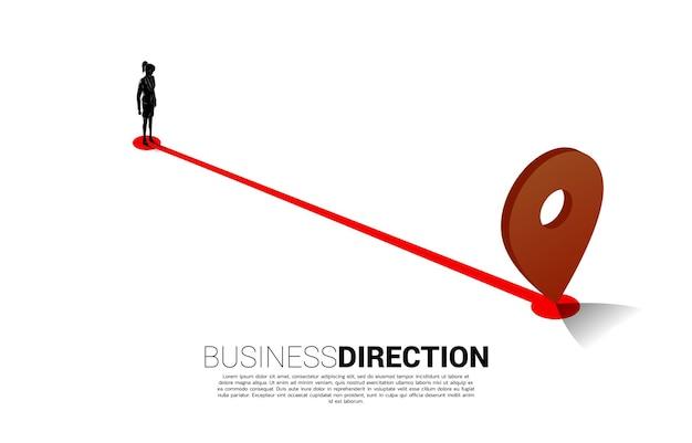 Trasa między znacznikami pin lokalizacji 3d a bizneswoman. koncepcja lokalizacji i kierunek biznesowy.