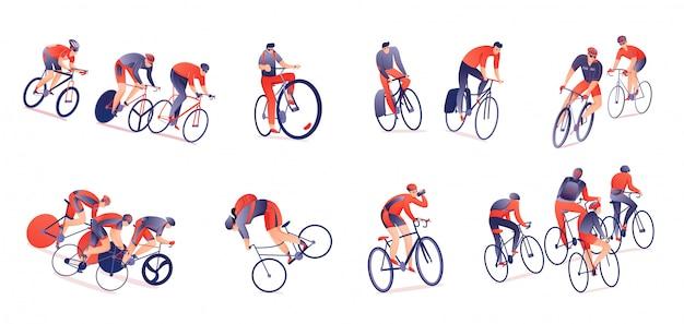 Trasa rowerowa poziomy zestaw rowerzystów ze sprzętem sportowym w różnych pozycjach na białym tle