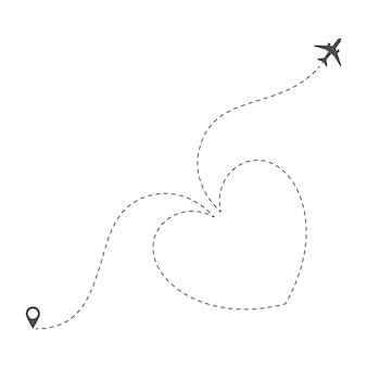 Trasa samolotu z linią przerywaną w formie serca. romantyczna wycieczka walentynkowa lub wakacje. miłość do podróżowania samolotem. ilustracja wektorowa na białym tle