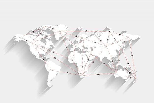 Trasy lotniska i samolotu na białej mapie świata