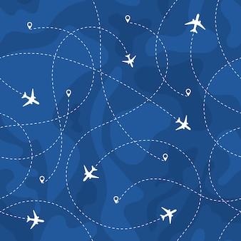 Trasy samolotów bez szwu wzór. podróże, wakacje, podróż bez szwu koncepcja z liniami przerywanymi. ilustracja wektorowa