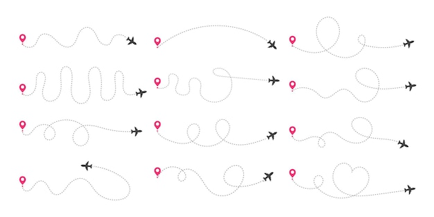 Trasy samolotów. podróżuj od punktu początkowego i przerywanej linii.