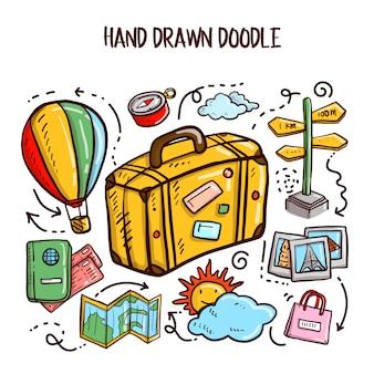 Travel doodles art. zestaw ilustracji wektorowych