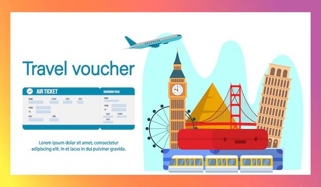 Travel voucher website banner, szablon płaski strony.
