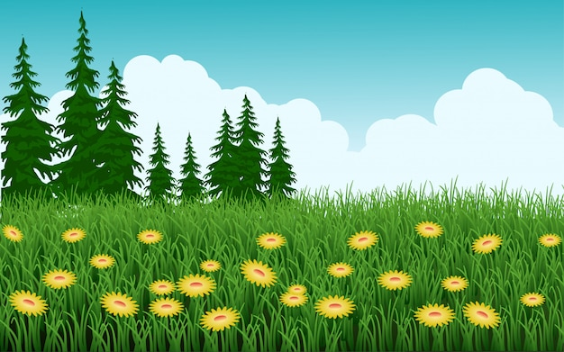Trawy pole z kwiatami i drzewami