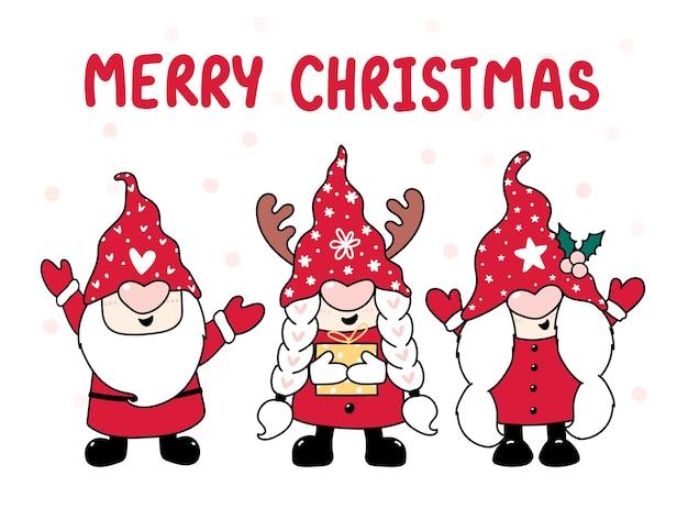 Tree happy gnome w czerwonym kapeluszu, wesołych świąt, kreskówki