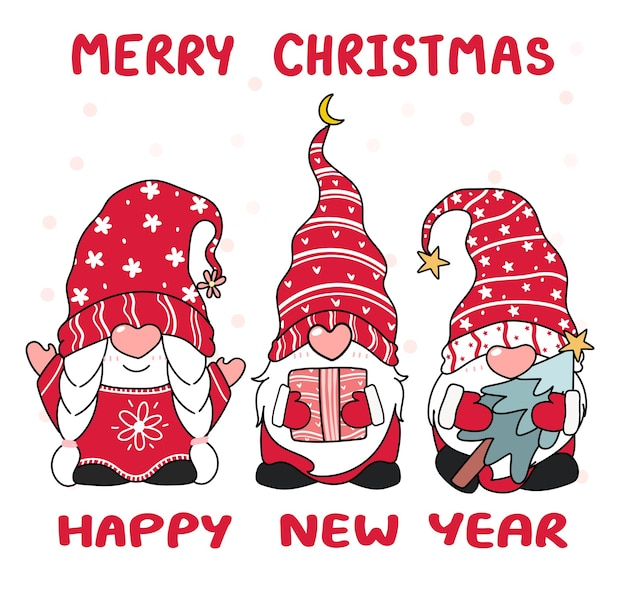 Tree happy small gnome in red hat, wesołych świąt, rysunkowy zarys vecotr, pomysł na kartkę z życzeniami, nadruk dla dzieci