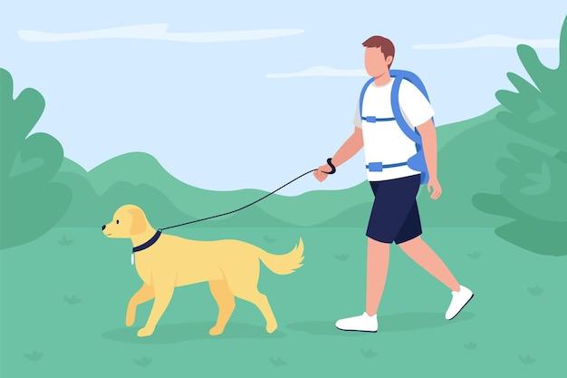 Trekker spacer z psem w mieszkaniu na wsi. człowiek z labradorem szlakiem eksploracyjnym w okolicy. kreskówka 2d z plecakiem