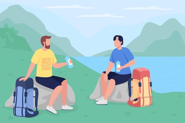 Trekkerzy piją wodę na płasko. podróżni na wakacjach na wsi. turyści siedzący i odpoczywający kreskówka 2d