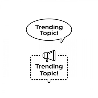 Trend ikona wektor logo lub zestaw symboli z czarną żółtą linią element odpowiedni dla mediów społecznościowych i komunikacji internetowej. herby i banery wektor zestaw na białym tle