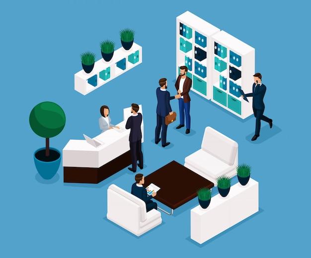 Trend izometryczny ludzi, sala recepcyjna to widok z przodu, koncepcja biznesowa, spotkanie, uścisk dłoni, burza mózgów, biznesmeni w izolowanych garniturach. ilustracji wektorowych