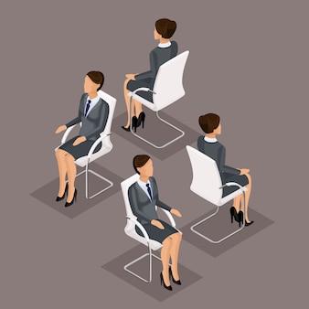 Trend zestaw ikon izometryczny, 3d bizneswoman w garniturze, siedząc na krześle, widok z przodu i widok z tyłu na białym tle. ilustracji wektorowych